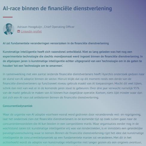 AI-race binnen de financiële dienstverlening - IIR