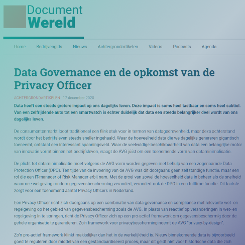 Data Governance en de opkomst van de Privacy Officer - Document Wereld