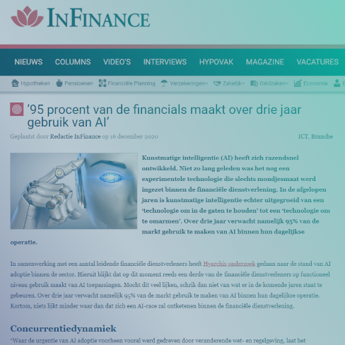 '95 procent van de financials maakt over drie jaar gebruik van AI' - InFinance