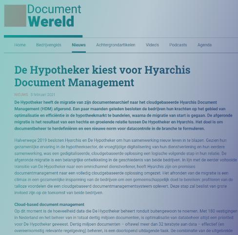 De Hypotheker kiest voor Hyarchis Document Management - Document Wereld