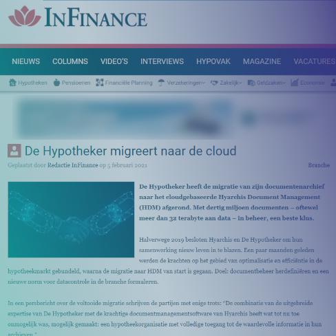 De Hypotheker migreert naar de cloud - InFinance